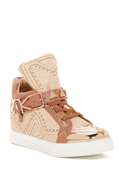 Ivy Kirzhner Lunar Natural Nude Leather Gold Buckle Detail Hidden Wedge Sneaker