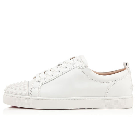 Christian Louboutin Louis Junior Spikes Cap-Toe Leather Sneakers White