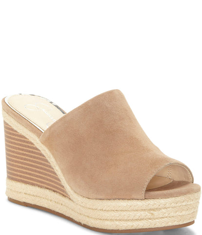 Jessica Simpson Monrah Suede Rope Slide Espadrille Slip On Wedges FAWNY