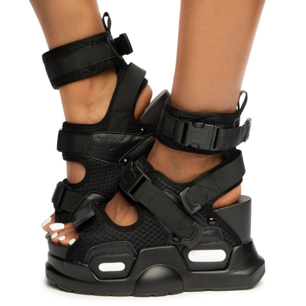 Anthony Wang Mulberry-01 Black Sneaker Sporty Chunky Platform Wedge Sandal
