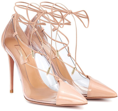 Aquazzura Magic Pump Pink Nuide Clear Strappy Pointed Toe Stiletto Pumps