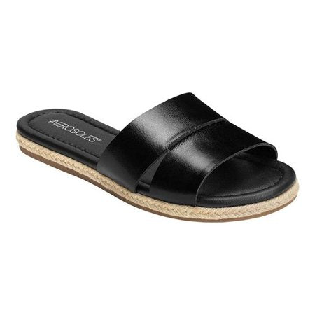 Aerosoles Women's Back Drop Flat Sandal Black Leather open Toe Slide Mule