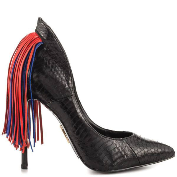 Lust For Life Women's Lark Pointed Toe High heel Snake Embossed Fringe Tail Pump (9, Black snake)