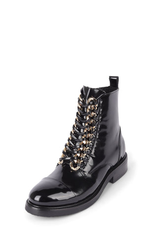 JEFFREY CAMPBELL Women's Damon Lace-Up Leather Ankle Bootie BLACK BOX