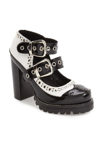 Jeffrey Campbell No Doubt Platform Pump - Black and White Retro Platfrom
