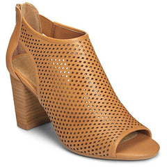 Aerosoles High Frequency Laser Cutouts Back Zipper Stacked Heel Peep Toe Booties