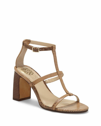 Vince Camuto Women's Balindah High Heel Ankle Strap Sandal Pump CAMEL BROWN