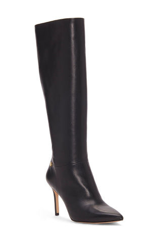 Louise Et Cie Women's Sevita Tall Stiletto Pointed Toe Leather Boots BLACK