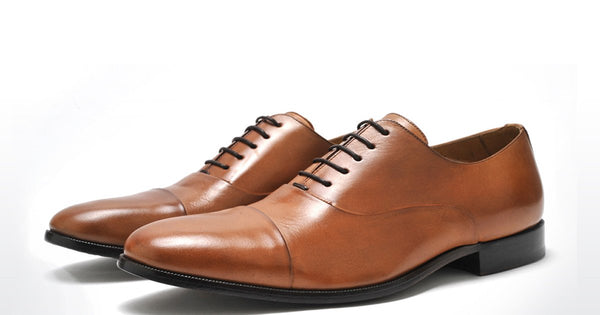 OXFORD SHOE - MENS PURE NUTS LEATHER COGNAC PAIR OF KINGS OXFORD DRESS SHOE