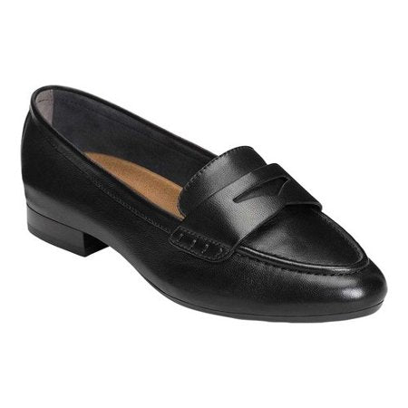 Aerosoles Women's MAP Out Loafer Black Leather Slip On Comfort Shoes