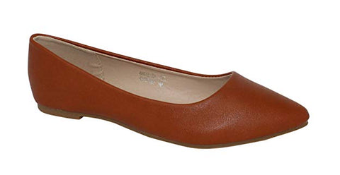 BellaMarie Angie-28 Women's Classic Pointy Toe Ballet Flat Shoes Chestnut