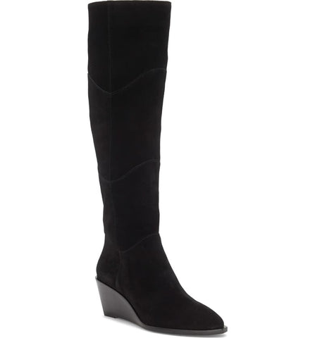 1.State Kern Black Soft Suede Knee High Low Wedge Pointed Toe Dress Boots