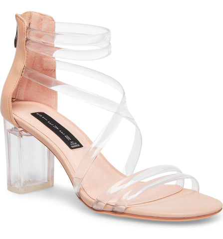 Steven By Steve Madden Lexis Clear Strappy Heeled Sandal Nude Clear