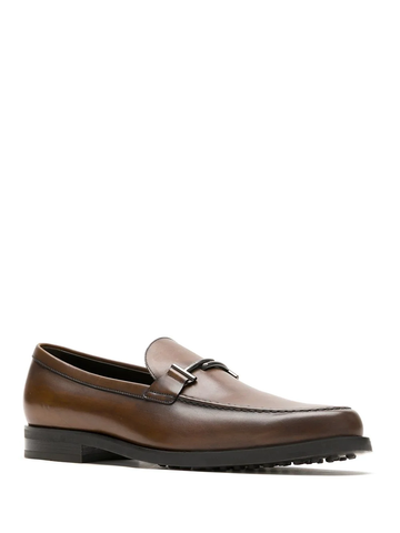 Tod's Men's Macro Leather Moccasins Loafers Brown