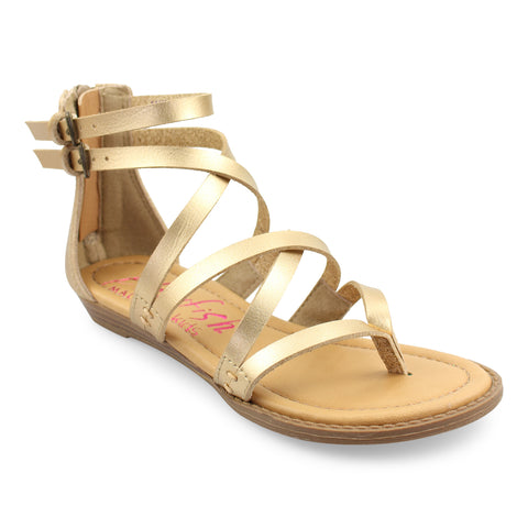 Blowfish Malibu Billa K Crisscrossed Strap Sandals Pearl Gold Dyecut