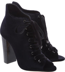Schutz Black Velvet High Block Heel Peep Toe Tie Lace Up Bootie