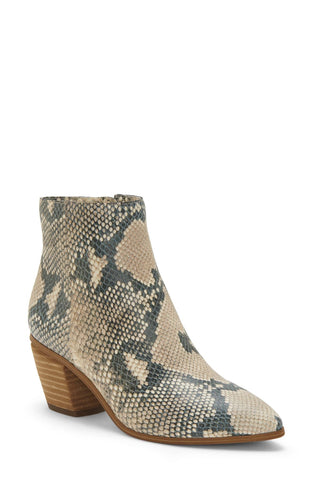 Vince Camuto Grasem Beige Snake Pointed Toe Western Boot Ankle Bootie