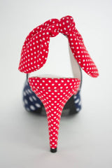 Jeffrey Campbell CINDY Navy Red Polka Dot Pointed Toe Bow American Flag Pumps