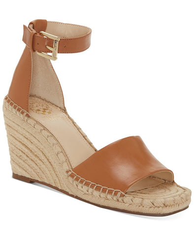 Vince Camuto Women's Maaza Wedge Leather Espadrille Ankle Strap Sandals TAN
