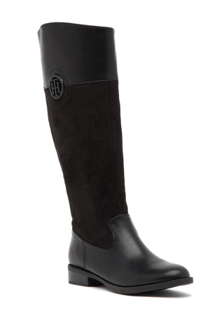 Tommy Hilfiger Idele Black Leather Suede Tann Knee High Flat Riding Boots