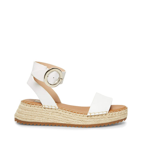 Steve Madden Women's Tiny Banded Flatform Sandals WHITE LEATHER