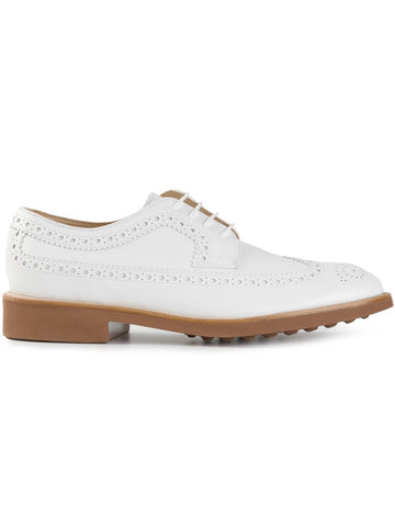 Tod's Men's White Leather Shoes Wingtip Lace Up Oxford