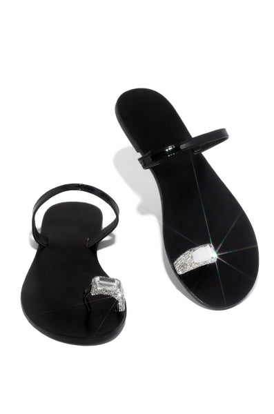 Shoe Republic Mala Black Toe Ring Rhinestone Flat Thong Sandals