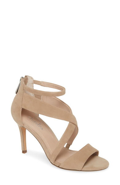 Charles David Harrison Suede Strappy Nude Sandal Latte Leather Open Toe Pumps