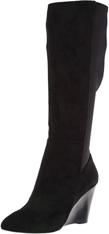 Charles David Energy Fashion Boot Black Suede Wedge Knee High Boots