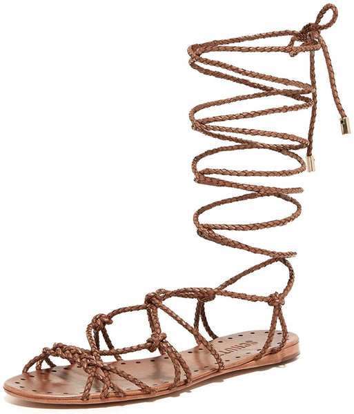 Schutz Bark Brown Flat Wrap Around Braided Leather Gladiator Resort Sandals