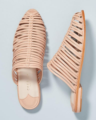 Cecelia New York Gloria Slide Sandals Peony Nude Closed Toe Caged Flat Mule