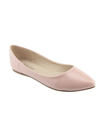 Bella Marie Angie-28 Women's Classic Pointy Toe Ballet Flat Shoes Dusty Rose Pat