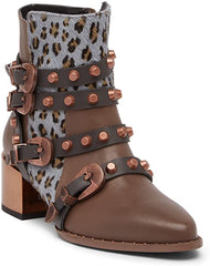 Ivy Kirzhner Circuit Strappy Stud Boot tartufo Pointed Toe Ankle Bootie Moto