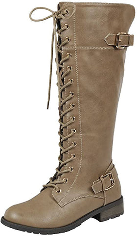 Forever Link Women's Strappy Lace-Up Knee High Combat Stacked Heel Boot,Taupe
