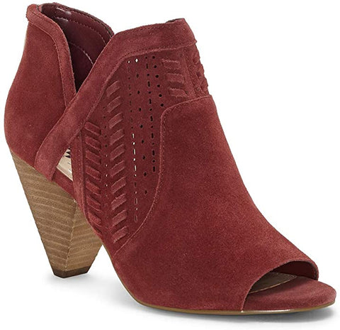 Vince Camuto Ebelin Teaberry Open Toe Cut Out Ankle Stacked Heel Suede Bootie