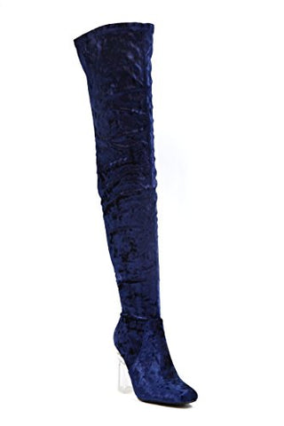 Cape Robbin Fay-2 Over The Knee Stretch Glass Heel Thigh High Boots (8.5, Blue velvet Fay-15)