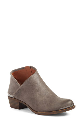 Lucky Brand Breeza Storm Grey Suede Asymmetrical Low cut Basel Ankle Bootie (6.5)