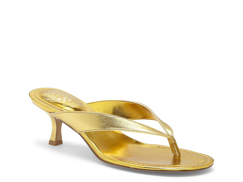 Vince Camuto Women's Marlinda Leather Kitten Heel Flip Flop Thong Slides SUNNY