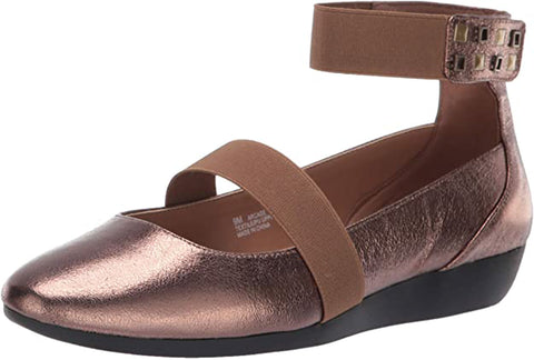 Aerosoles Women's Arcade Ballet Flat Bronze Leather Elastic Ankle Strap