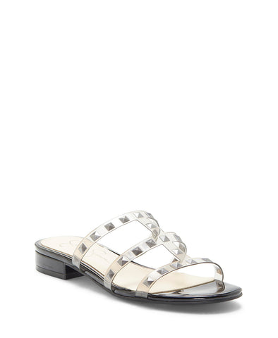 Jessica Simpson Women's Caira 2 Flat Studded Slide Slip On Sandals SMOKE