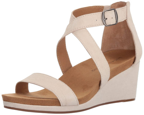 Lucky Brand Women's Kenadee Suede Wedge Ankle Strap Sandal SANDSHELL