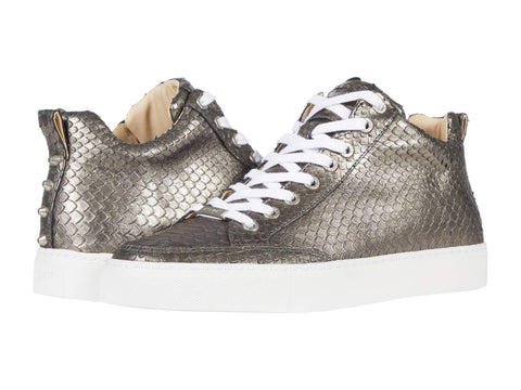 J/Slides Women's LEESA CUT Embossed Side-zip Sneaker Pewter Embossed