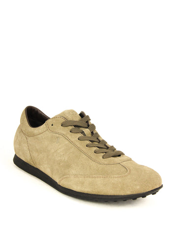 Tod's Men's Allacciato Leather Trainers Sneakers, TORBA Beige Suede Lace Up
