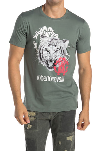 Roberto Cavalli Tiger Graphic Crew Short Sleeve T-Shirt GREEN HST600A47504940