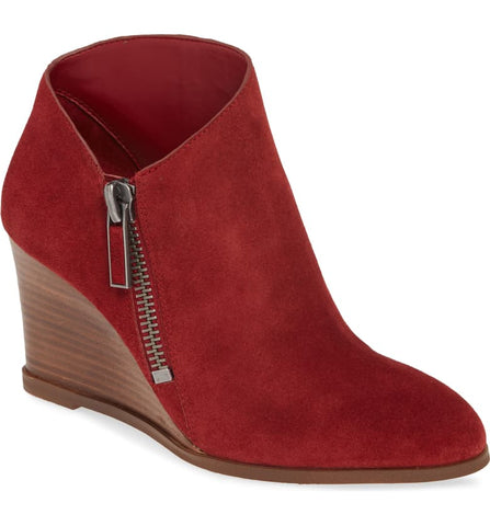 1.State Kaleb Wedge Womens Anke Bootie Rosso Red Suede Low Cut Wedge Bootie