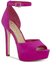 Jessica Simpson Beeya Hot Shot Pink Two-Piece Platform Peep Toe Sandals Pumps