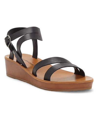 Lucky Brand Women's Hecilia Ankle-Strap Leather Wedge Sandal BLACK