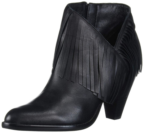 Jessica Simpson Women's Jewles Stacked Heel Closed Toe Fringe Boot BLACK
