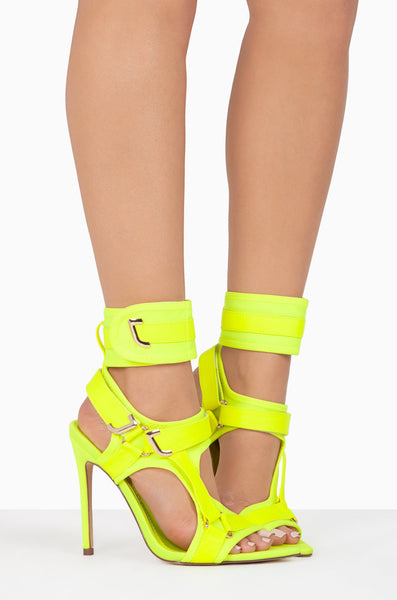 Cape Robbin Dive In Neon Yellow Neoprene Strappy High Heel Single Sole Sandals