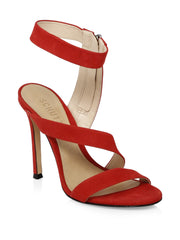Schutz Lauanne Scarlet Red Strappy Ankle Strap Open Toe Stiletto Heel Sandals